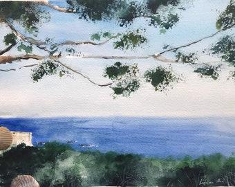 ORIGINAL Watercolor Painting - Ocean Landscape seen from Palos Verdes