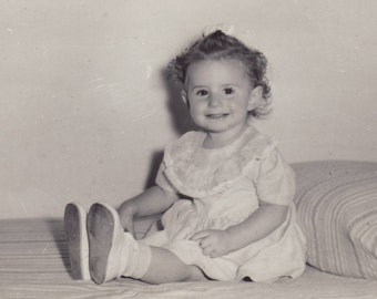 Vintage 1948 Photograph, Little Girl, Identified, Child, Happy, Smiling, Dress, Bow, Toddler, Identifited, Vernacular, Sweet, Hopeful, Baby