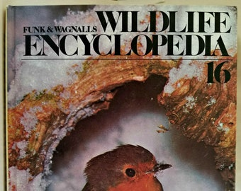 Vintage 1974 Hardcover Book, Funk & Wagnalls Wildlife Encyclopedia, Volume 16 RAI-SCA, Hardcover, Book, Text, Educational, Animals, Nature