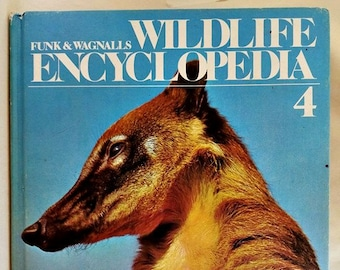 Vintage 1974 Hardcover Book, Funk & Wagnalls Wildlife Encyclopedia, Volume 4 CAR-CON, Hardcover, Book, Text, Educational, Animals, Nature