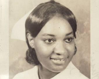 Vintage 1950's Nurse, Person of Color, Healthcare, Smiling, Happy, Portrait, Nurse Aide, Helping, Beautiful, Flawless, Kind, Short Hair,