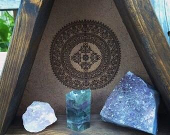 Mandala Engraved Triangle Shelf