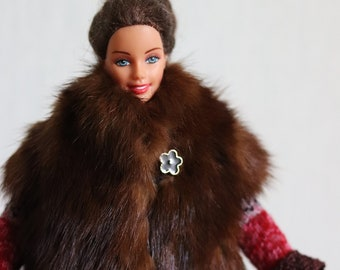 3c49e75f40 Barbie clothes doll coat fur coat for Barbie - fashion doll clothes  handmade Barbie