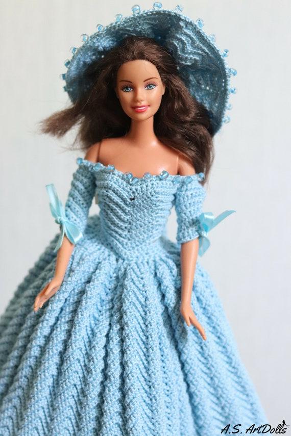 Stoffpuppe Kleidung Häkeln Kleid Barbie Kleidung 1790 Land Etsy