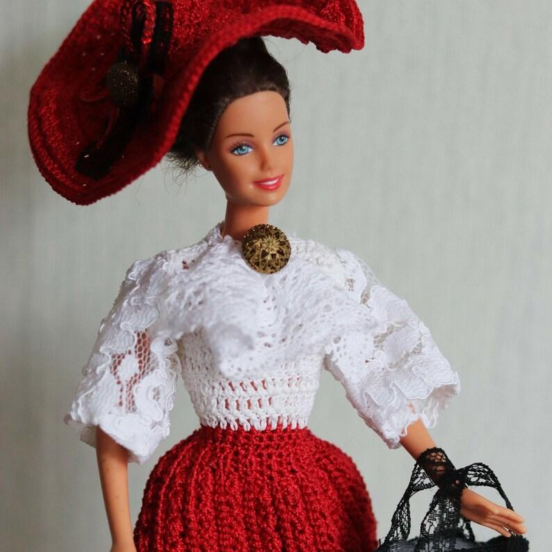 Red Crochet Doll Dress Victorian Doll Dressbarbie Etsy