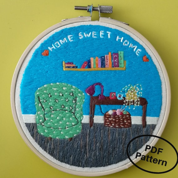 Embroidery Pdf Pattern Digital Pdf Download Home Sweet Etsy