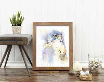 "17 x 22"" Bird of Prey Watercolor Painting. Fine Art Print. Decor. Falcon. Giclée"