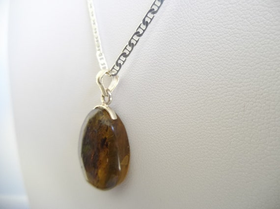 """Sterling Silver and Baltic Amber Pear Pendant /""""Yvonne/"""""""