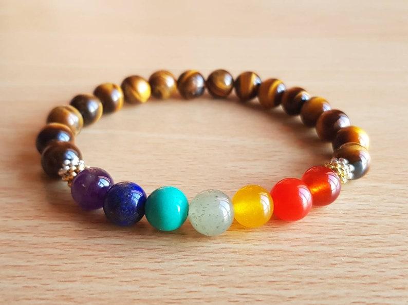 7 Chakra Awakening Unisex Stretch Fit Natural Tigers Eye Bracelet Tigers Eye Jewelry Genuine 7 Chakra Bracelet 7 Color Gemstone Beads 8mm