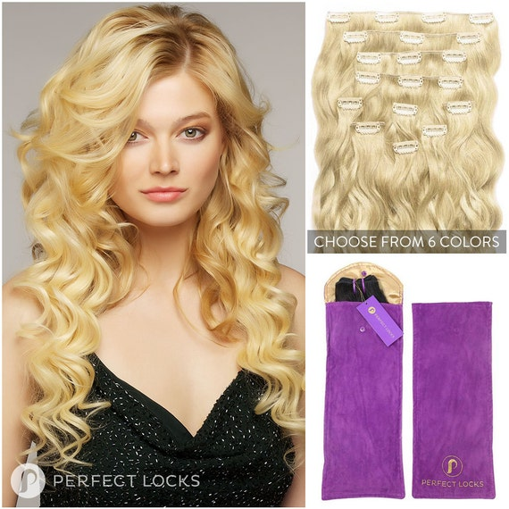 Wavy Clip In Hair Extensions 7 Piece Clip In Set 100 Remy Etsy