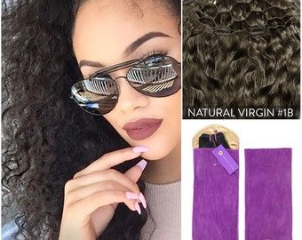 Curly Virgin (1B) Clip In Volumizer Hairpiece, 100% Remy Human Hair Extensions