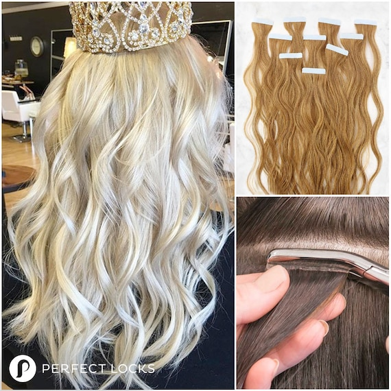 Wavy Tape In Extensions 100 Remy High Quality Human Hair Etsy
