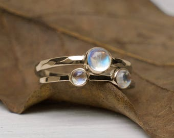 Moonstone Ring Set, Gold Ring, Rainbow Moonstone Rings, Stacking Ring Set, Gold Stack Rings, Gift for her, Engagement Ring, Wedding Ring