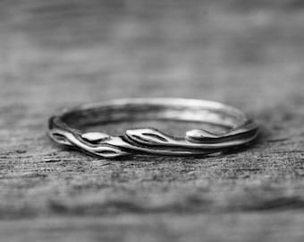 """Sterling silver ring """"Juu"""" wedding matching band, nature inspired twig branch ring, leaf floral jewelry"""