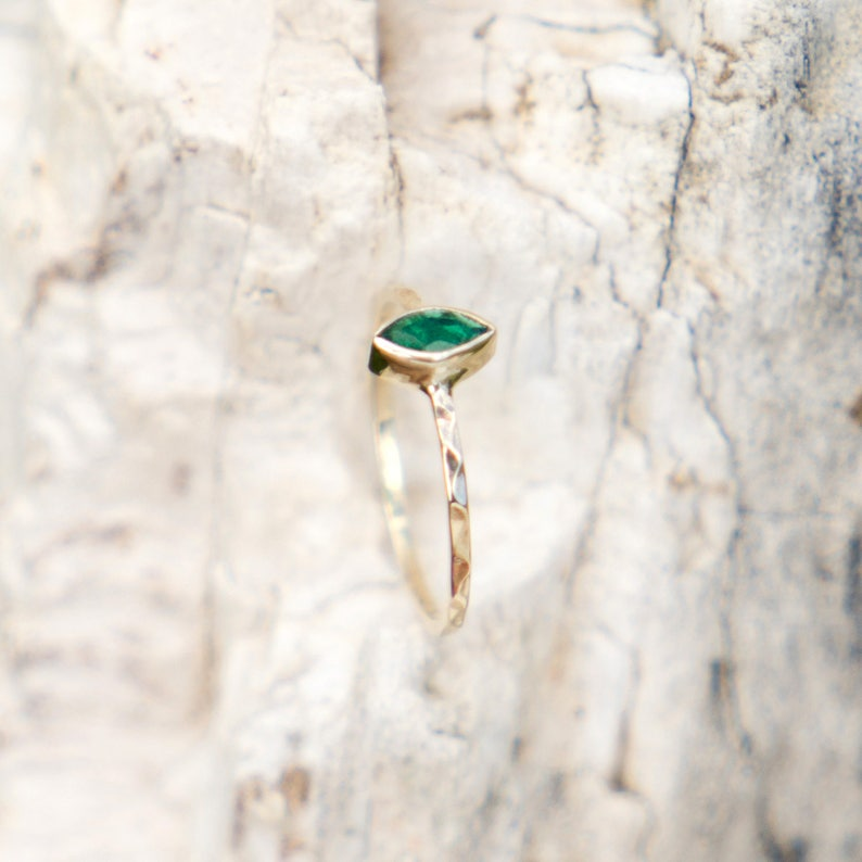 alternative 14k gold ring with green stone gemstone delicate stacking ring Natural emerald engagement ring