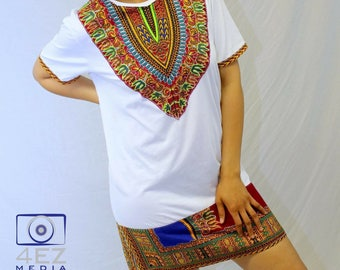 Mixed Dashiki Print Dress