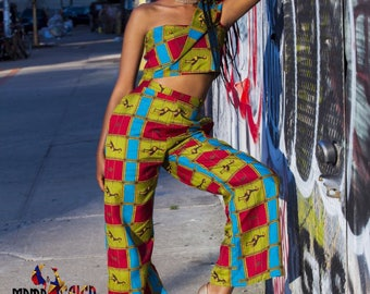 MYB Two piece Afro Centric crop Top and Pants.