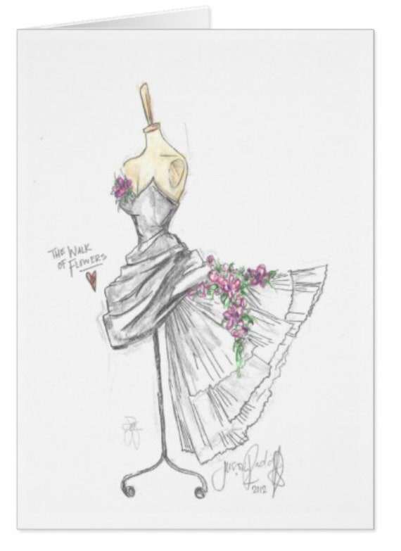 Walk of Flowers / White Taffeta Gown Single Card