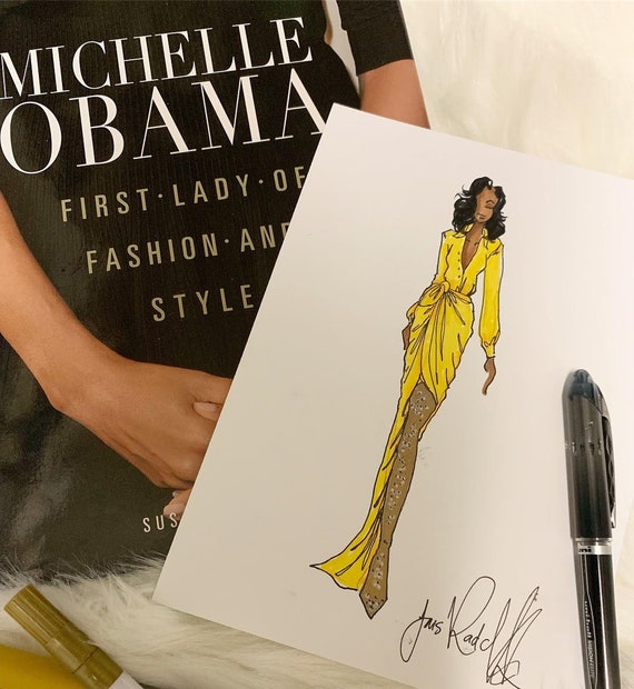 Michelle Obama Illustration - (Becoming Book Tour wearing Balenciaga)