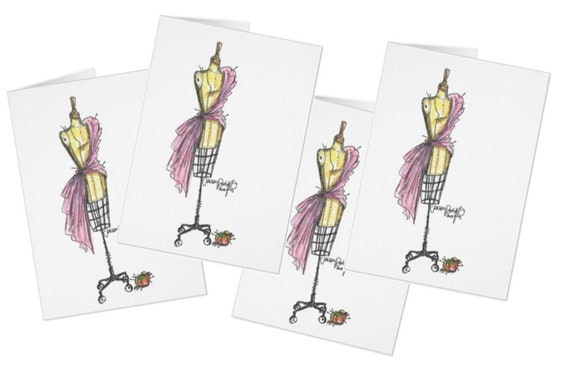 Drape Me in Pink / Pink Fabric Draped Dress Form Greeting Card Set