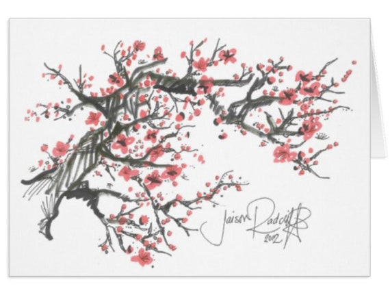 Cherry Blossom Tree Greeting Card Set
