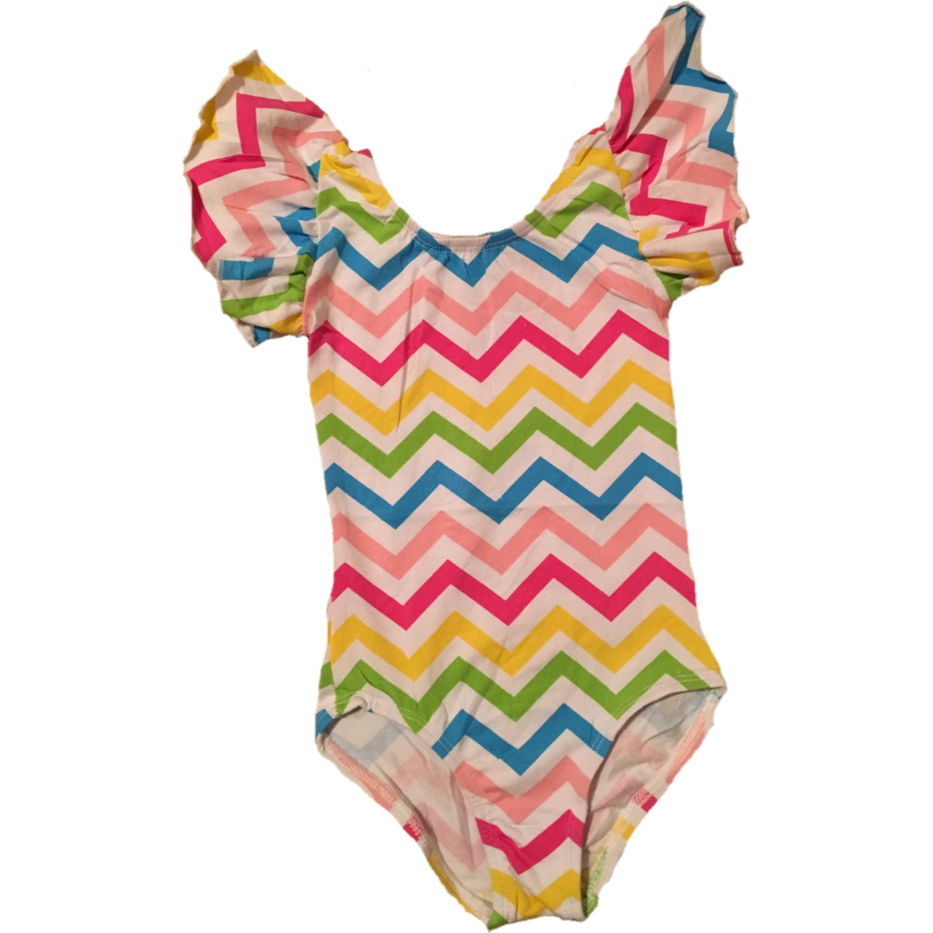 09f78f0164 Rainbow chevron flutter sleeve leotard personalized
