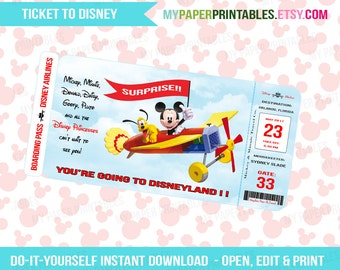 photograph about You're Going to Disney World Printable named Printable Ticket Towards Disney Do it yourself Customise Fast Obtain