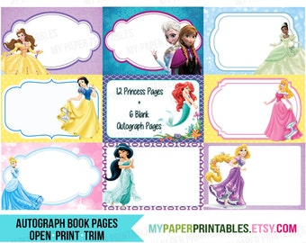 disney autograph book printable diy instant download disney etsy