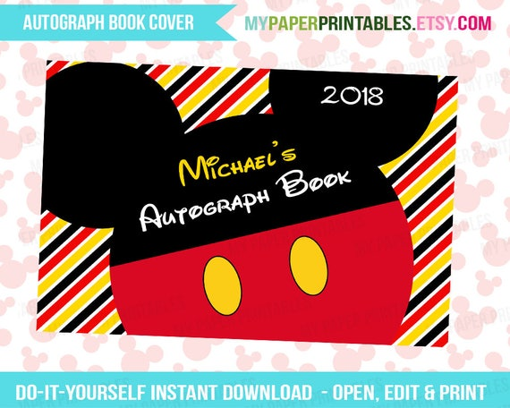 Printable Autograph Book Cover EDITABLE Diy Personalize