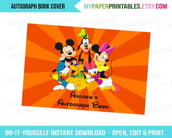 graphic regarding Printable Disney Autograph Book known as Printable Autograph Ebook Deal with EDITABLE Do it yourself Customise Fast Down load Disney Planet Disney Cruise Disney Printables Disney Signature E book