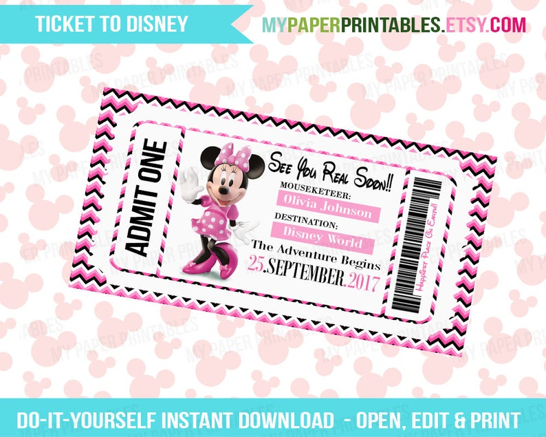 picture about Printable Ticket named Printable Ticket In the direction of Disney Do-it-yourself Customise Fast Obtain Disney Entire world Disneyland Boarding P Speculate Mickey Minnie Mouse Children Disney