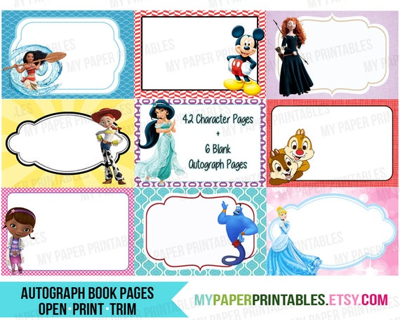 Selective image in printable disney autograph book