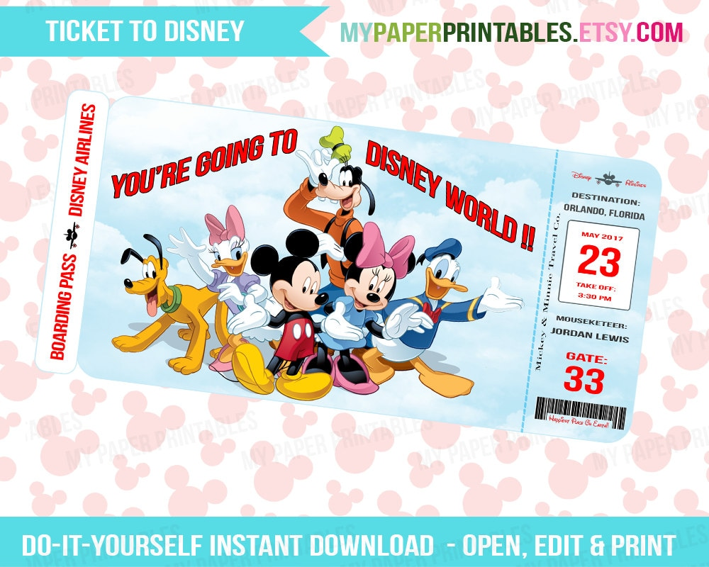 Striking image with disney world printable tickets