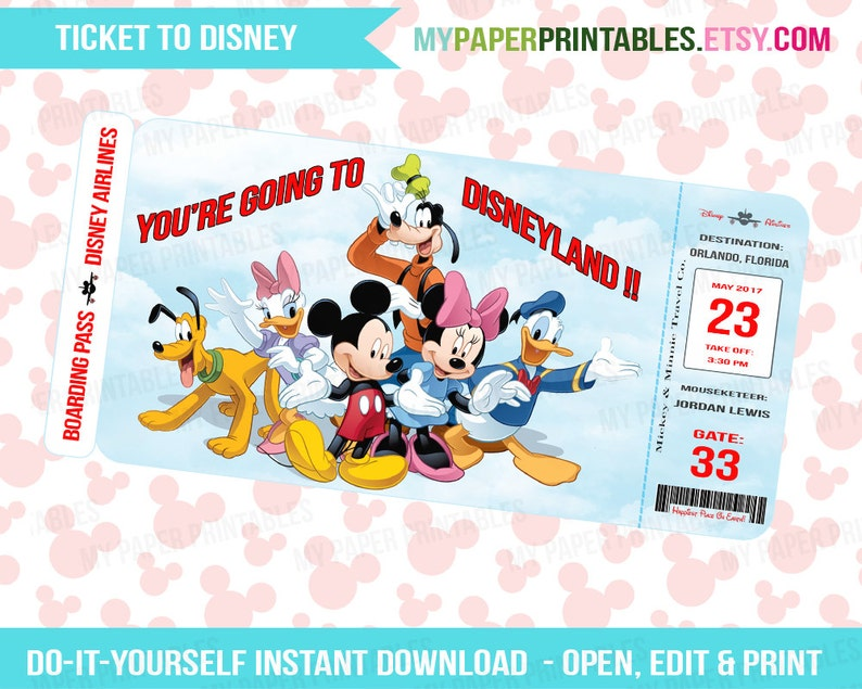picture relating to Free Printable Pretend Disney Tickets identify Printable Ticket In the direction of Disney Do-it-yourself Customise Prompt Down load Disney Global Disneyland Boarding P Speculate Mickey Minnie Mouse Young children Disney