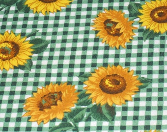 Sunflower Farm in Green and White Check.