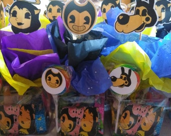 Bendy and Alice party favor box filled