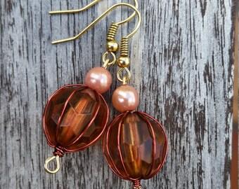 Amber & Pink Pearl Drop Earrings