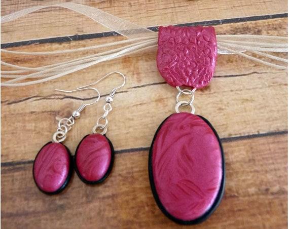 Shimmering Pink Leaf Design Necklace & Dangle Earring Set, Polymer Clay