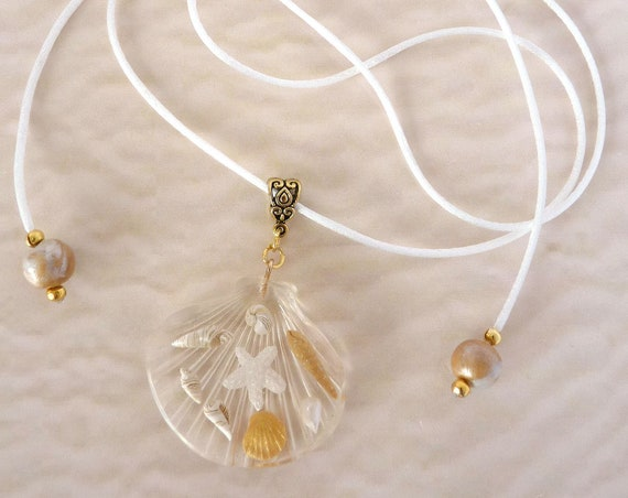 Large Resin Sea Shell Pendant with Gold & White Sea Shells, Beach Statement Jewellery