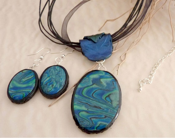 Blue & Green Oval Necklace Gift Set, Polymer Clay Necklace Dangle Earring Set on  Black Choker