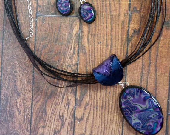 Blue & Purple Oval Necklace Gift Set, Polymer Clay Pendant and Dangle Earrings, Statement Jewellery