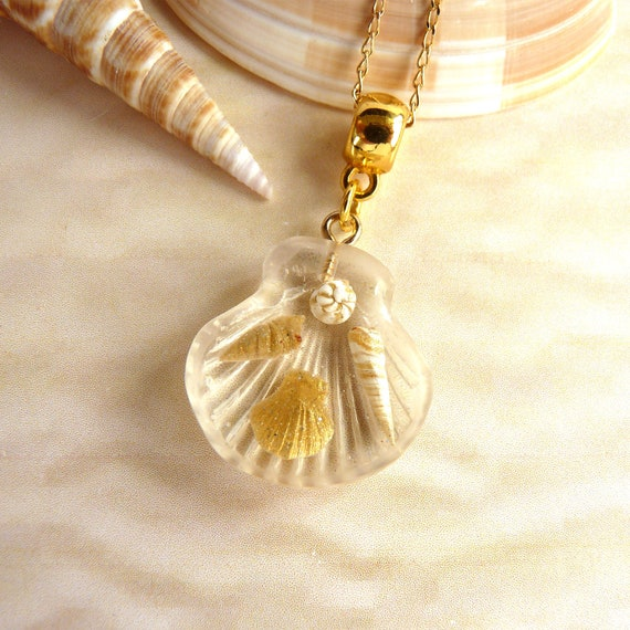 Shimmering White & Gold Shells Inside a Resin Scallop Shell Pendant on a Gold Chain, Resort Style Beach Necklace