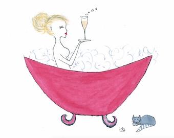 Bubbles - Lady in Bath Art Print A3