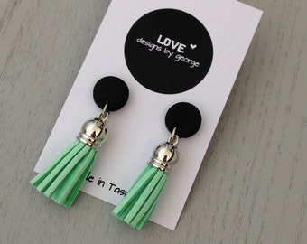 61d57edb9 Tassel Earrings Black Clay Studs Mint Green Earrings Drop Earrings Gift for  Her Clay Jewellery Statement Earrings Surgical Steel Earrings