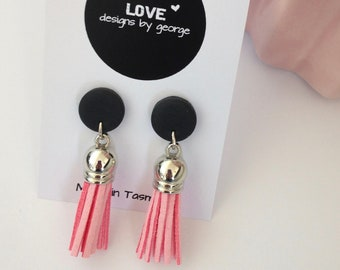 2a0d9ab6e Polymer Clay Tassel Earrings Black and Pink Dangle Earrings Clay Earrings  Drop Earrings Clay Jewellery Gift for Her Pink and Silver Earrings
