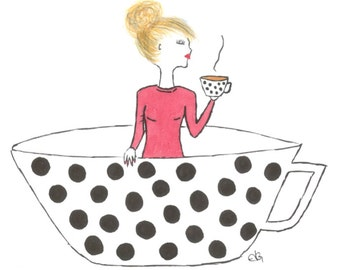 Indulgence - Lady in Coffee Cup Art Print A3