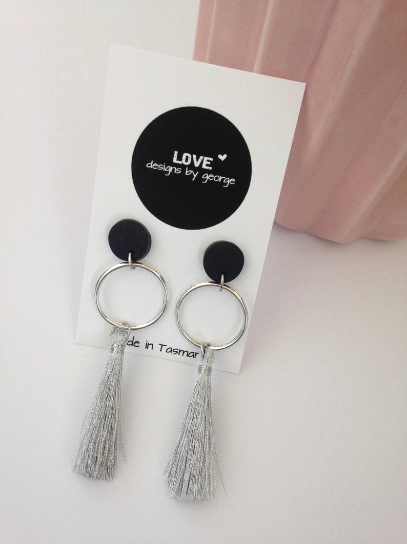 41c31b65e Silver Tassel Earrings Silver Earrings Clay Earrings Gift | Etsy