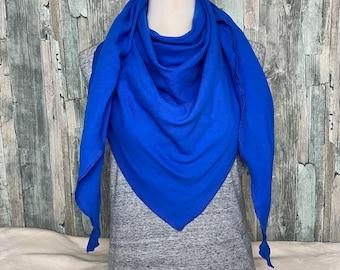 Dreieckstuch Halstuch Damen XXL Musselin Royalblau Musselin Wickelschal Tuch Handmade Schal Herbstlich einlagig