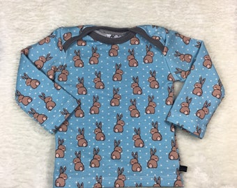 """Kids shirt """"bunny"""" size 68 in cotton jersey shirt, bunny, girl top, boy, outfit, baby, long sleeve shirt, bunny, blue, unisex, neutral"""