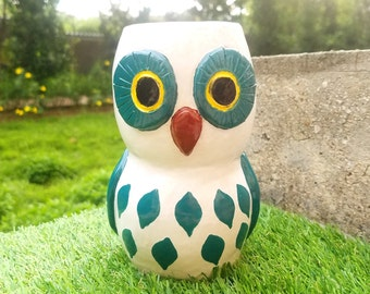 Tall purple and green handmade Owl vase